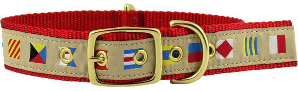 Dog Collars - Dog Collar In Tan Ribbon On Red Canvas With Code Flags By Country Club Prep