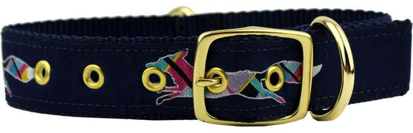 Dog Collars - Longshanks The Fleet Fox Dog Collar In Navy By Country Club Prep