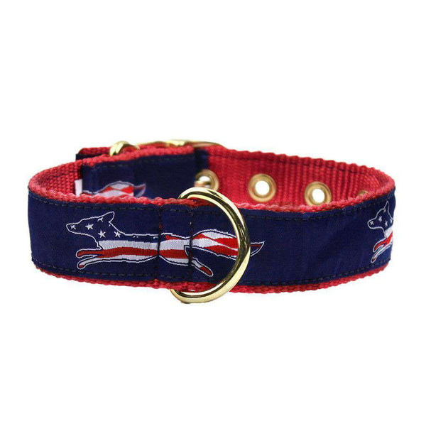 Patriotic Longshanks Dog Collar in Navy by Country Club Prep