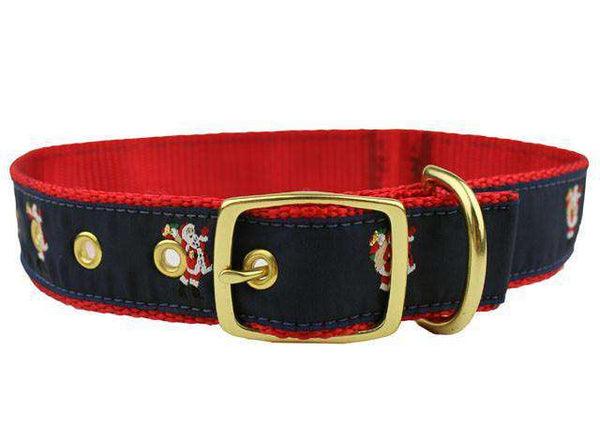 Santa Dog Collar in Navy and Red by Country Club Prep