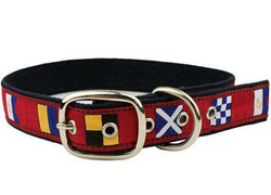 Dog Collars - Signal Flag Dog Collar In Crimson By Anchored Style