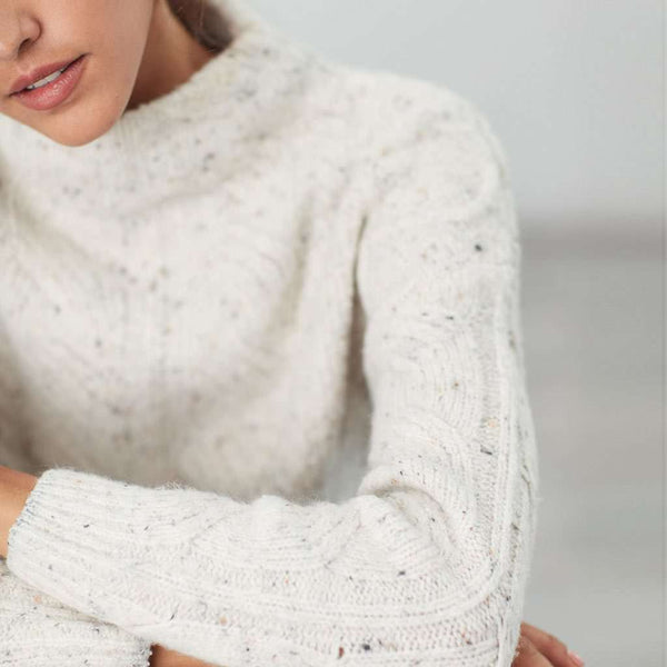 Joules Joyce Cable Knit Sweater in Cream Flecks by Joules