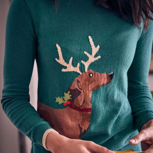 Joules Festive Sausage Dog Crew Neck Sweater by Joules