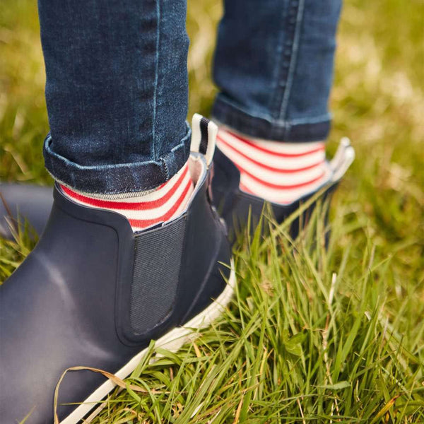 Joules Rainwell Short Slip-On Rain Boots in French Navy by Joules