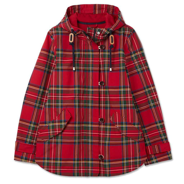 Joules Red Tartan Coast Print Waterproof Coat by Joules