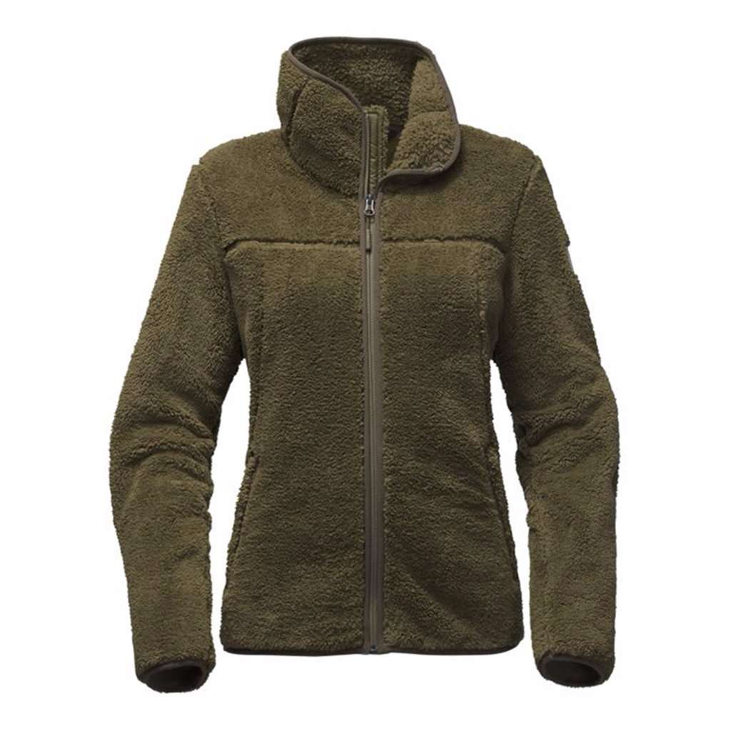 c0cd11481ab The North Face Women s Campshire Full Zip Sherpa Fleece in Burnt Olive  Green – Country Club Prep