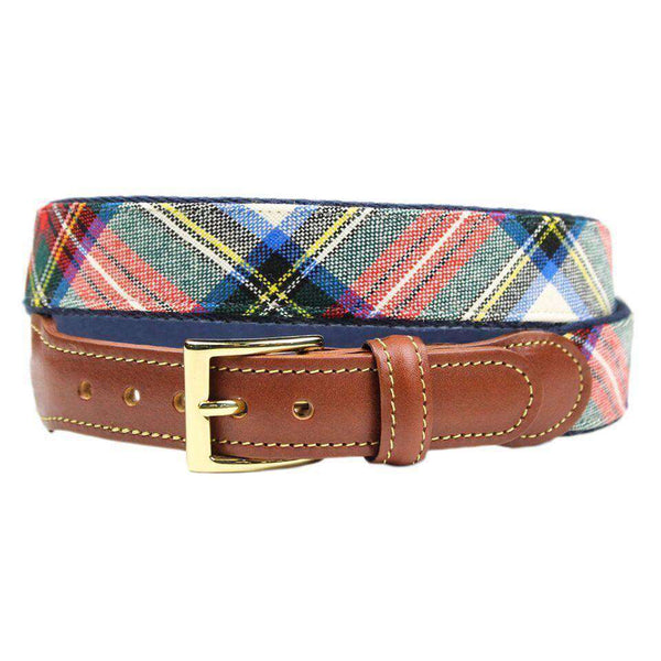 Dress Stewart Tartan Plaid Belt on Navy Canvas by Country Club Prep