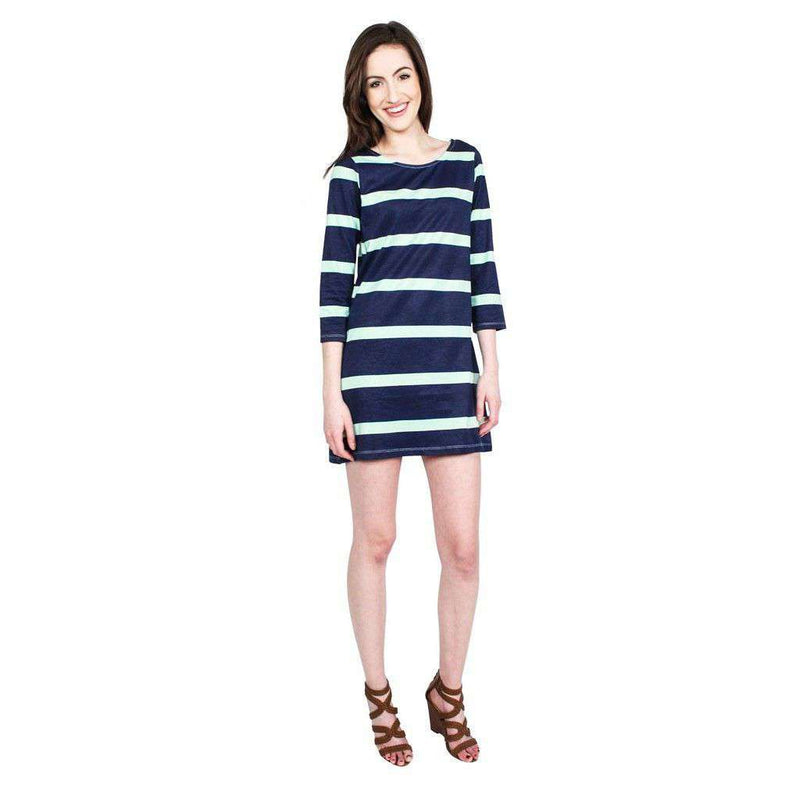 Dresses - 3/4 Sleeve Dress In Navy And Green Broad Stripe By Hiho - FINAL SALE