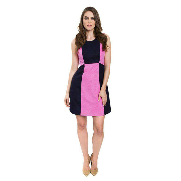 Dresses - Amanda Suede Dress In Pink And Navy By Julie Brown - FINAL SALE