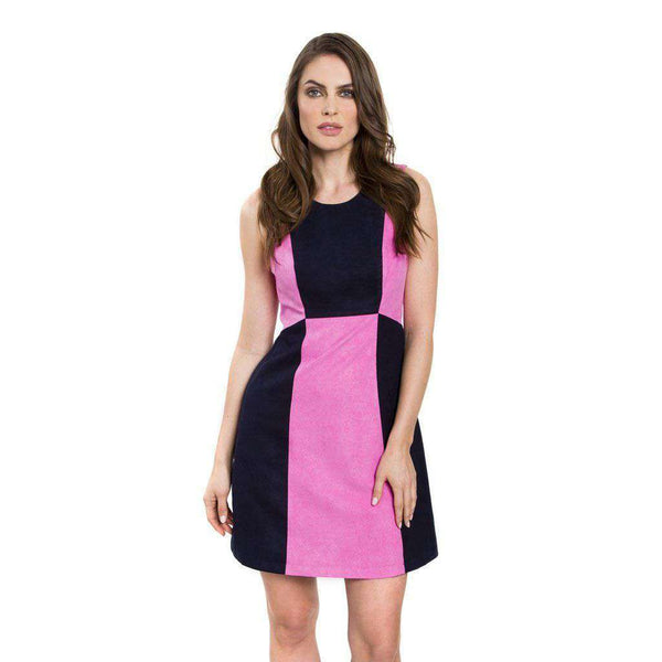 Amanda Suede Dress in Pink and Navy by Julie Brown