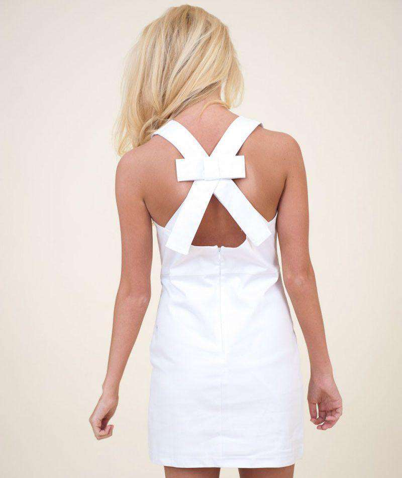Amy Bow Back Dress in White by Tracy Negoshian - Country Club Prep