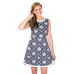 Dresses - Basket Weave Drop Fit & Flare Dress In Navy Sun Print By Sail To Sable - FINAL SALE