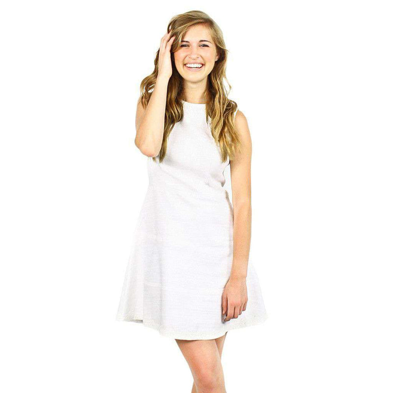 Dresses - Basket Weave Drop Fit & Flare Dress In White With Lace Trim By Sail To Sable - FINAL SALE