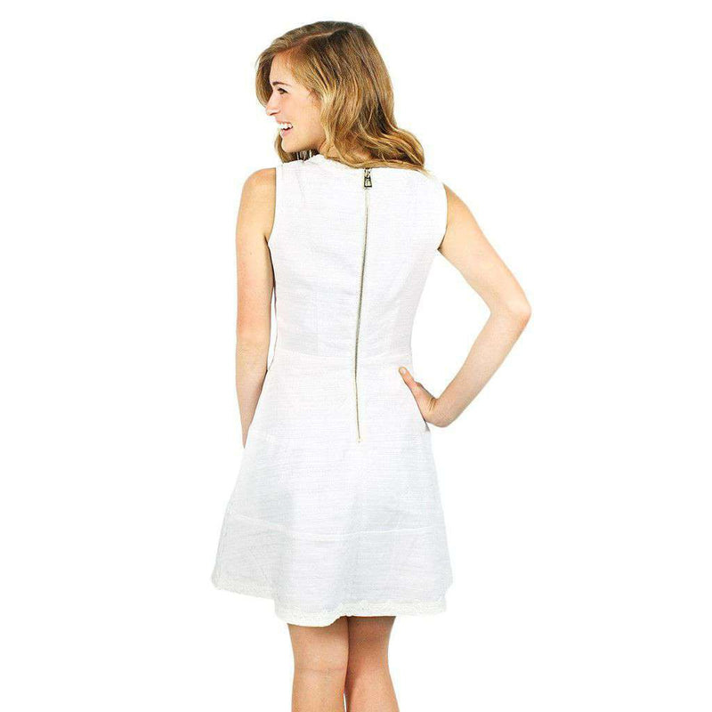 Basket Weave Drop Fit & Flare Dress in White with Lace Trim by Sail to Sable - FINAL SALE