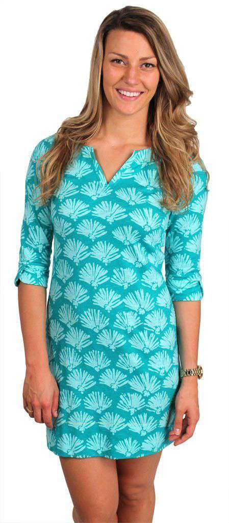 Dresses - Batik Shells Peplum Sleeve Dress In Turquoise By Hatley - FINAL SALE