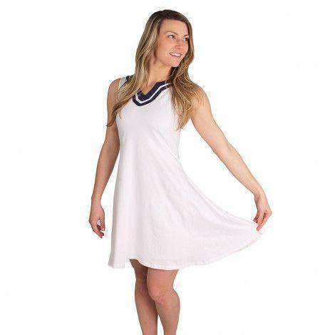 Blaire Swing Dress in White/Navy by Duffield Lane - FINAL SALE