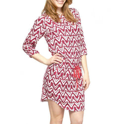Dresses - Blocked Chevron Dress In Pink With Cinch Waist By Haltey - FINAL SALE