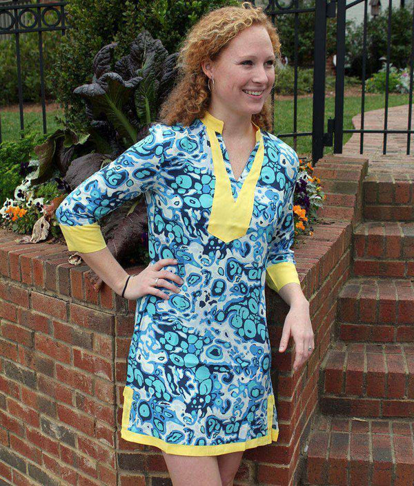 Brandi Tunic Dress in Splash Blue by Tracy Negoshian - Country Club Prep