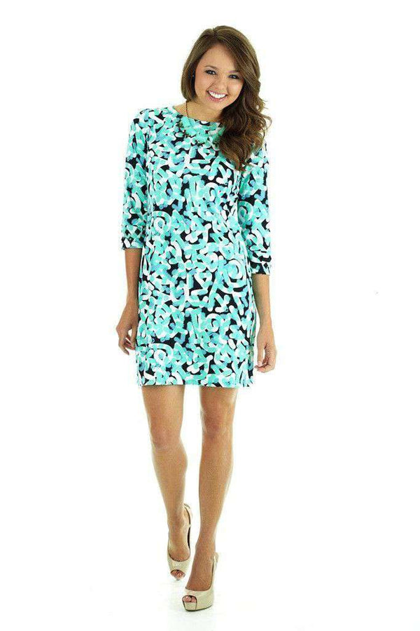 Candice Graffiti 3/4 Sleeve Shift Dress in Graffitti Seafoam by Tracy Negoshian - Country Club Prep