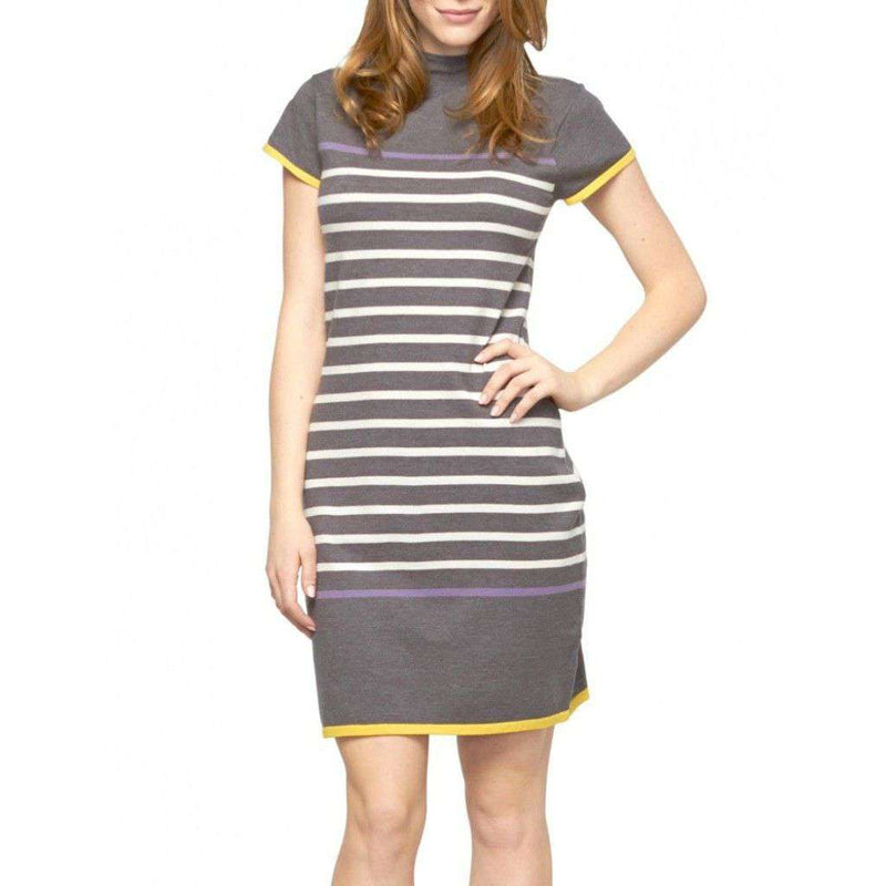 Dresses - Charcoal & Storm Striped Dress With Funnel Neck By Haltey - FINAL SALE