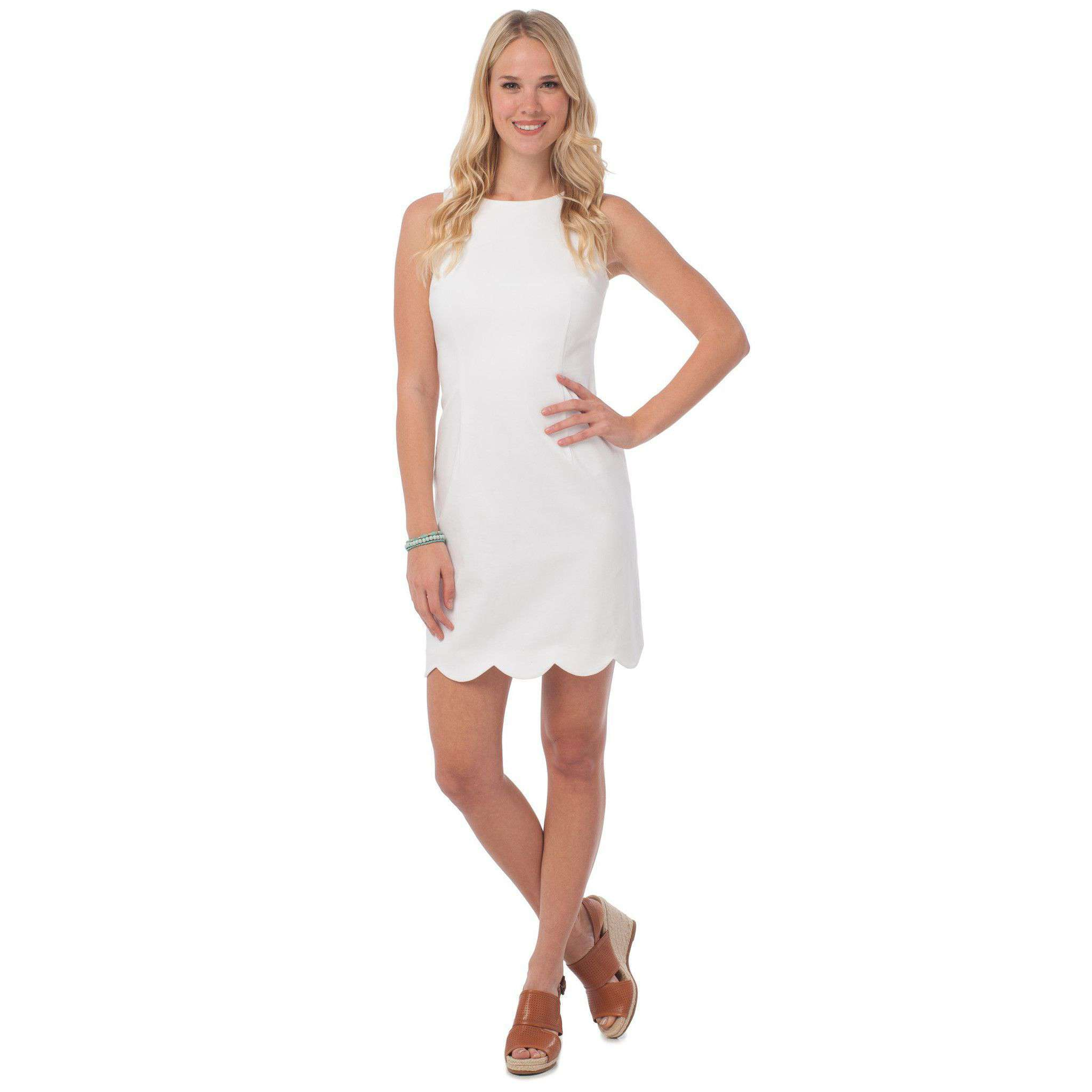 Dresses - Charleston Scallop Dress In White By Southern Tide