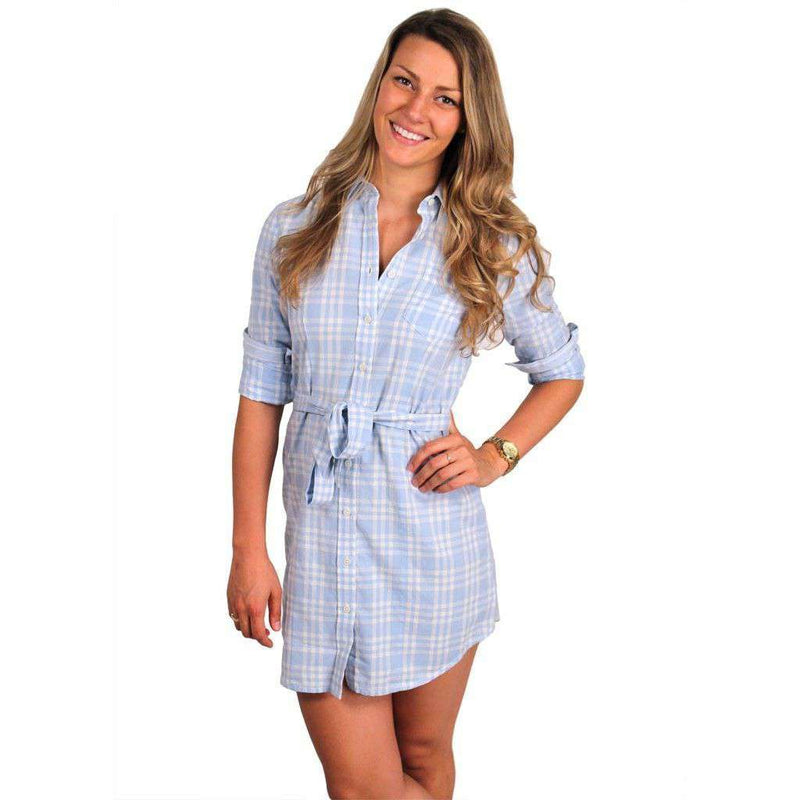 Dresses - Collegiate Shirt Dress In Carolina Blue And White By Olde School - FINAL SALE
