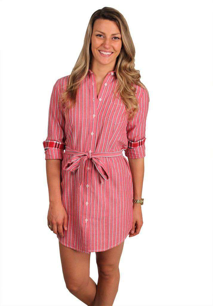 Dresses - Collegiate Shirt Dress In Red And Black By Olde School - FINAL SALE