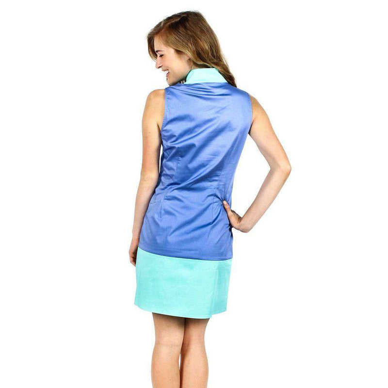 Dresses - Color Block Shift Dress In Marine Blue And Cabbage By Sail To Sable