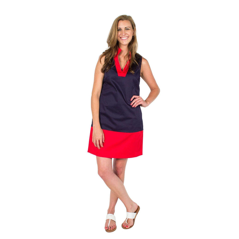 Dresses - Color Block Shift Dress In Peacoat Navy And High Risk Red By Sail To Sable - FINAL SALE