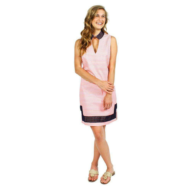Dresses - Cotton Shift Dress In Pink And White Stripes By Sail To Sable