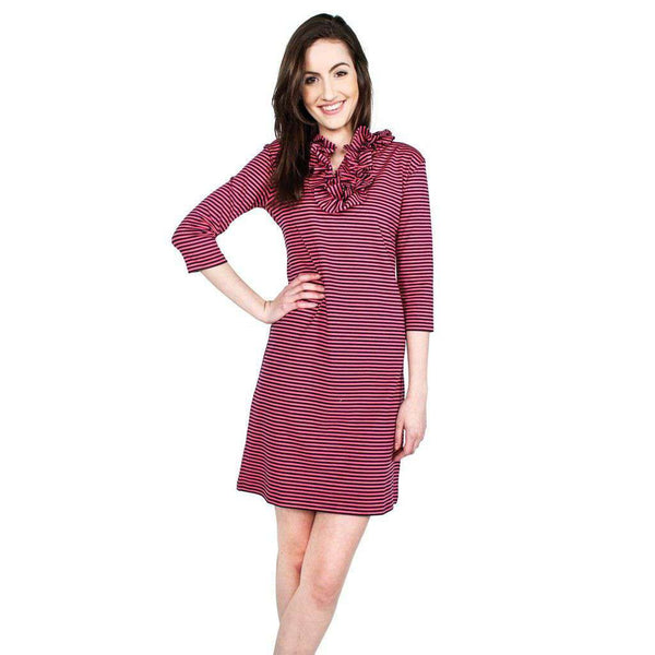 Cotton Skipper 3/4 Sleeve Dress in Pink/Navy Stripe by Just Madras