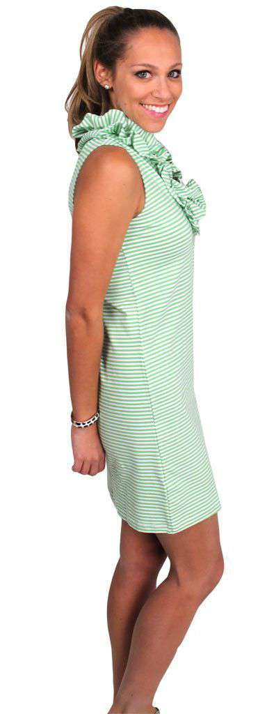 Cotton Skipper Sleeveless Dress in Green Stripe by Just Madras
