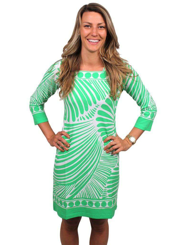 Engineered Knit Square Neck Dress in Line Play Green by Barbara Gerwit