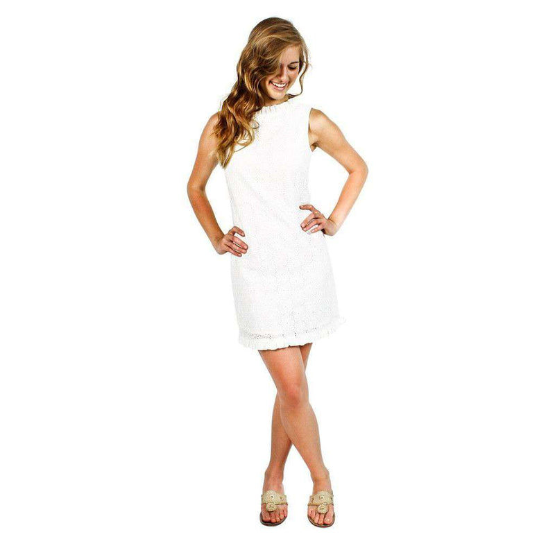 Dresses - Eyelet Ruffle Dress In White By Sail To Sable
