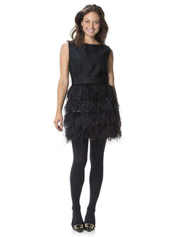 Dresses - Festive In Black Feathers Skirt Dress By Sail To Sable