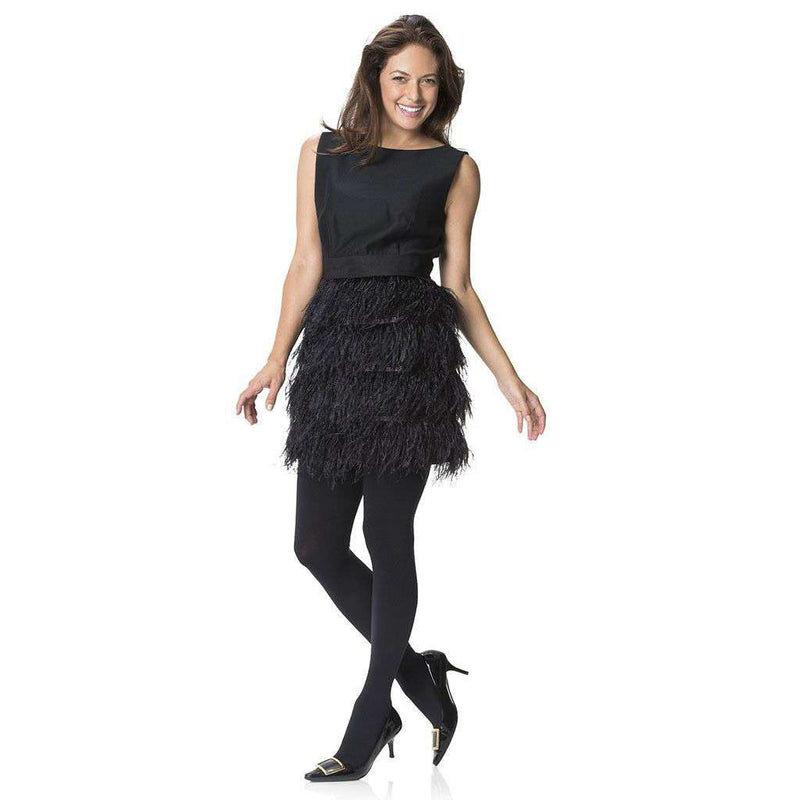 Festive in Black Feathers Skirt Dress by Sail to Sable