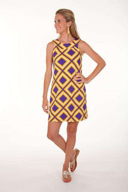 Dresses - Gene Sleeveless Shift Dress In Purple And Yellow By Tracy Negoshian - Final Sale