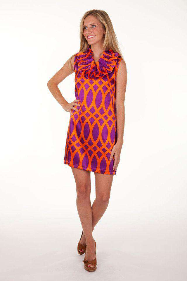 Dresses - Grace Ruffle Shift Interlaced In Purple And Orange By Tracy Negoshian - FINAL SALE