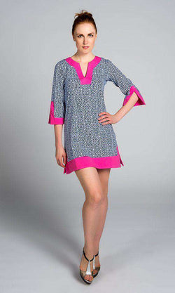 Dresses - Greek Key Knit Dress In Navy By Malabar Bay - FINAL SALE