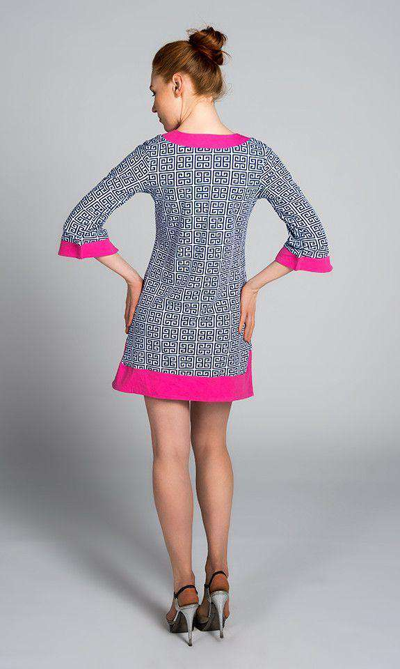 Greek Key Knit Dress in Navy by Malabar Bay - FINAL SALE