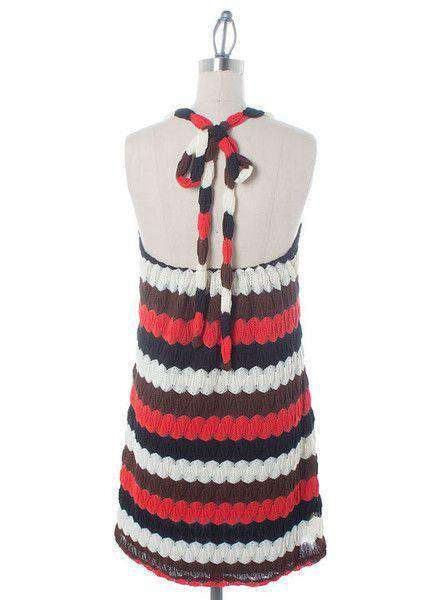 Dresses - Halter Crochet Dress In Red And Black By Judith March - FINAL SALE