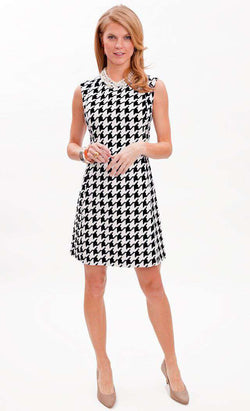 Dresses - Julia Dress In Houndstooth Black And White By Elizabeth McKay - FINAL SALE