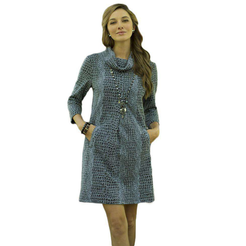 Dresses - Kim Cowl Dress In Blue Crocodile By Tyler Boe