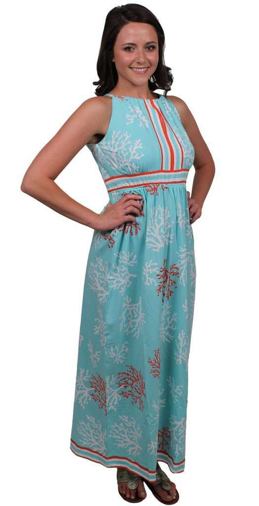 Knit Peephole Maxi Dress Dress in Seafoam Coral Frenzy by Barbara Gerwit