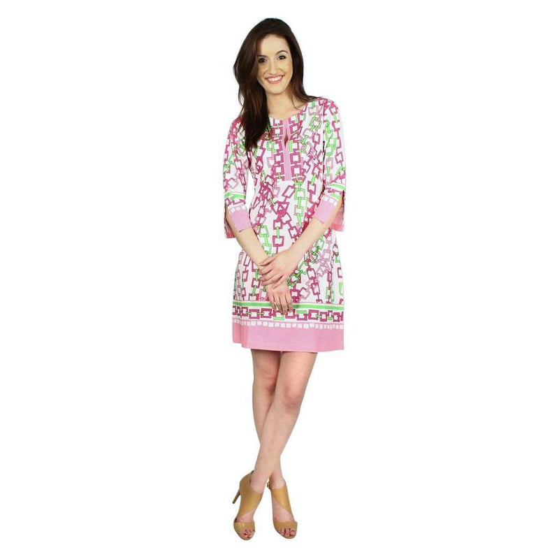 Dresses - Knit Slit Neck Tunic Dress In Pink And Lime Square Chains By Barbara Gerwit