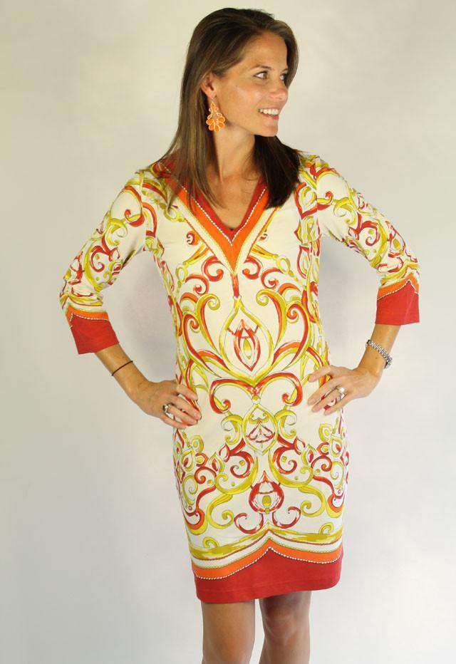 Knit V-neck Dress in Orange by Barbara Gerwit