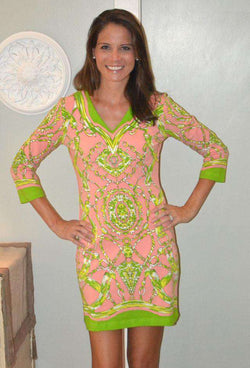 Dresses - Knit V-neck Dress In Pink And Green By Barbara Gerwit