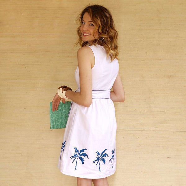 Lyndal Dress in White Twill with Palm Trees by Kayce Hughes - FINAL SALE