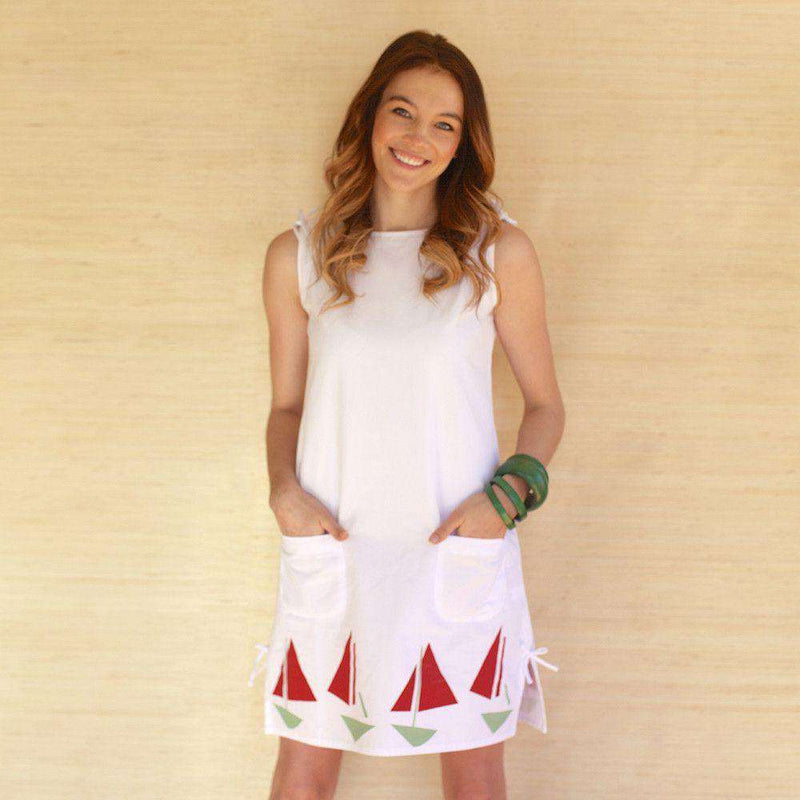 Dresses - Lyndal Dress In White Twill With Sailboats By Kayce Hughes