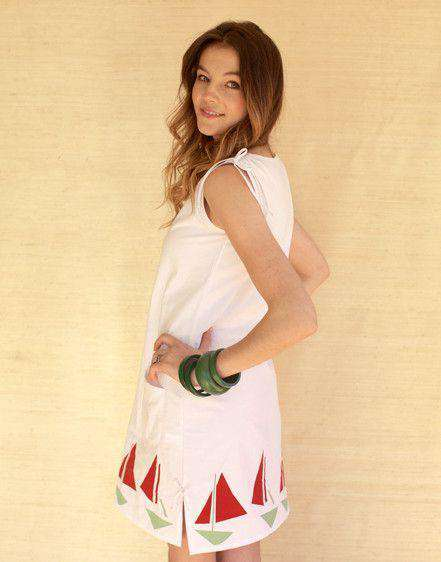 Lyndal Dress in White Twill with Sailboats by Kayce Hughes
